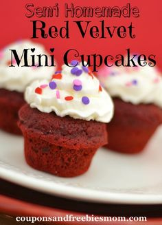 Easy Red Velvet Cupcakes! Looking for a quick and easy Red Velvet treat? Check out these deliciously simple Red Velvet Cupcakes! Perfect size for kid's parties! You'll want to make these again and again! See the tasty recipe here!