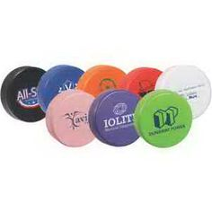 """Local sports teams and businesses alike will love this hockey puck stress ball for its versatility. Safety tested, this item is intended for adults or for general use by consumers of all ages. Our products are not intended for children under 3 years old or for pets. Whether you're a coach who wants to thank the fans for their support all season or a sponsor who wants to reach a wide audience, get in the game and order these polyurethane stress relievers today! Item Size: 3"""" dia. x 1""""."""
