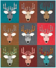 Dwight The Deer Quilt Kit By Elizabeth Hartman Modern Quilt Patterns, Quilt Patterns Free, Elizabeth Hartman Quilts, Deer Pattern, Pattern Fabric, Baby Boy Quilts, Animal Quilts, Christmas Sewing, Christmas Quilting