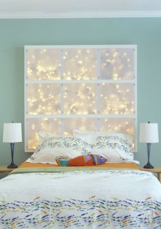 If you're like me, your Christmas gear — the tinsel wreath, fake tree and way too many lights — is still floating around the apartment and still hasn't quite made its way into 2013 storage hibernation. To put off the chore indefinitely, re-use your holiday lights in the bedroom with this home-y optical headboard idea.