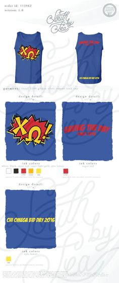 Chi Omega | Chi O | Bid Day | Recruitment | Sisterhood | Comic Book Theme | Superhero Theme | South by Sea | Greek Tee Shirts | Greek Tank Tops | Custom Apparel Design | Custom Greek Apparel | Sorority Tee Shirts | Sorority Tanks | Sorority Shirt Designs