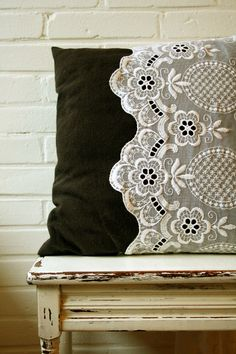 thrift store lace curtains sewn onto a pillow