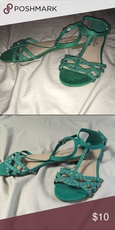 Green sequins sandals Worn once. Ankle straps are metal buckles. Shoes Sandals