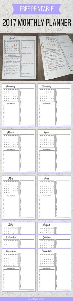 Free Printable Planner | 2017 Calendar | For Organizing