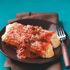 Three Cheese Turkey Manicotti~  This is really good!  I use cottage cheese in place of ricotta and it's even good if you don't put in the spices.  I'm just lazy sometimes and don't mess with it  : )
