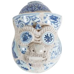 17th Century Ming Porcelain Ayutthaya Temple Guardian Head, Thailand | From a unique collection of antique and modern sculptures and carvings at https://www.1stdibs.com/furniture/asian-art-furniture/sculptures-carvings/