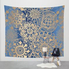 Blue and Gold Mandala Pattern Wall Tapestry by Julie Erin Designs | Society6