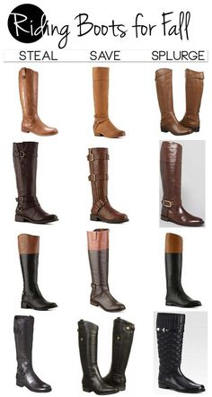Steal, save, or splurge chart for Riding Boots Fall 2013. Love these leather boots! #boots #leather #ridingboots
