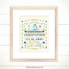 Baby cross stitch pattern - Little Whale with LOVE - Xstitch Instant download - Baby announcement , Baby sample , Baby Record