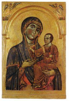 Maestro dei Santi Cosma e Damiano - Madonna col Bambino e due angeli - ca.1260 - Pisa , Museo Nazionale di San Matteo
