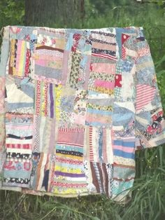 vintage quilt top, hand-stitched crazy quilt patchwork in cotton print fabric