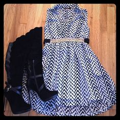 Black and white chevron dress. Belt not included Beautiful black and white summer dress. Wear it in the early fall with boots (on sale in closet). Super chic and cute. Size small Boutique  Dresses