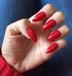 Set of 20 Handmade Red Press On Stiletto Nails Claws  | eBay
