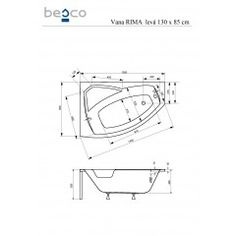 Asymetrická rohová vana RIMA 130 x 85 cm Line Chart, Math, Math Resources, Mathematics