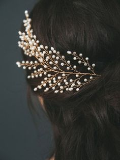 Sofie Head Piece  The dreamiest of ethereal head pieces, this golden handspun branch dotted with glass & freshwater pearl buds makes a bold bridal