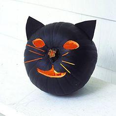 Make easy pumpkin crafts | Conjure up a cat pumpkin | AllYou.com