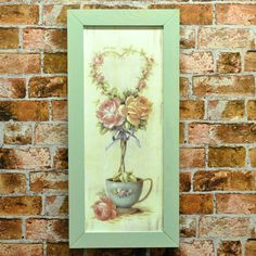 Set 2 Rose Topiary Tree Floral Wood Board Canvas Print Picture