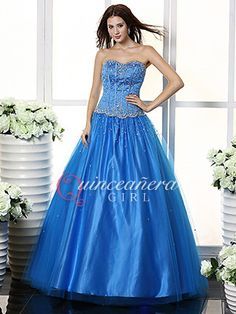 Blue Beaded Sweetheart Corset Tulle Satin Long Quinceanera Dress - US$176.99 - Style Q0160 - Quinceanera Girl