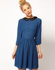 ASOS Dress with Velvet Collar