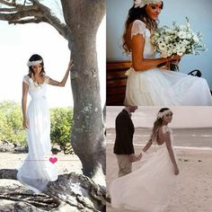 Strand rückenfrei Chiffon Hochzeitskleid Brautkleider Böhme Größe 34 36 38 40 42