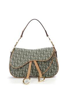 Christian Dior Green Diorissimo Canvas Double Saddle Bag - Photo 1
