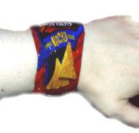 Make a bracelet from full sized potato chip bags by shrinking them in your oven!