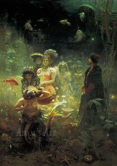 Masterpieces of Russian Painting: Archive Mermaid Poster, Mermaid Wall Art, Russian Painting, Russian Art, Ilya Repin, Fine Art Prints, Canvas Prints, Famous Artwork, Art Plastique