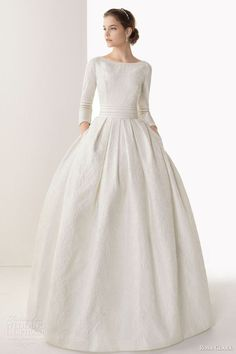 rosa clara 2014 bridal caceres silk brocade ball gown wedding dress sleeves