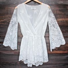 lioness road to nowhere gauzy lace romper with bell sleeves in white - shophearts - 1