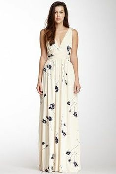 Cream and navy floral maxi dress is gorgeous!