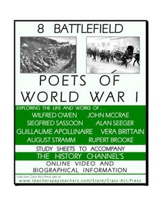 """This 15-page printable packet includes . . .  •Note to Teachers with ideas about how to present material  •vocabulary and questions about the online introduction •vocabulary and questions about lives and works of eight WWI poets   •""""Digging Deeper"""" questions for  critical thinking skills to further examine works of the poets. Answer keys provided. Poets featured include Owen, McCrae, Sassoon, Seeger, Apollinaire, Brittain, Stramm, and Brooke. #wwi #poets #poetry #historychannel #workshets"""