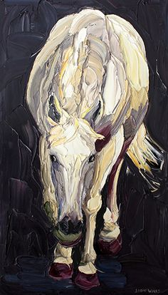 Featuring work by Jodie Wells - Snoop White Horse available at Anthea Polson Art on the Gold Coast Australia, specialising in contemporary Australian art and sculpture