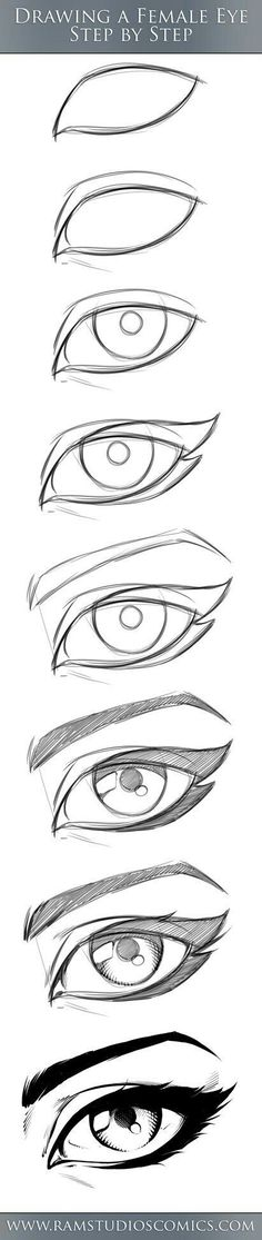 Drawing a Female eye step by step
