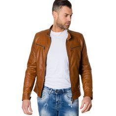 Men s Leather Jacket korean collar four pockets tan color Hamilton  fashion   swag  style d8afa6e28a9