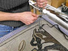 I love to punch hook, and one of my designs for Madame Odier, was done with this technique. When you punch hook, you are working on the back of the rug and everything will be in reverse on th… Rug Hooking Designs, Punch Tool, Rug Yarn, Rug Inspiration, Braided Rugs, Penny Rugs, Karen, Barn Quilts, Loom Weaving