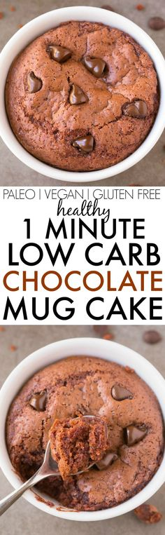 Healthy 1 Minute LOW CARB Chocolate Mug Cake- Light, fluffy and moist in the inside! Packed full of protein and no sugar whatsoever! Chocolate Low Carb, Keto Chocolate Mug Cake, Keto Mug Cake, Chocolate Mug Cakes, Protien Mug Cake, Mug Recipes, Sugar Free Recipes, Paleo Recipes, Low Carb Recipes