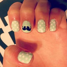 Moustache Nails - love them on the turquoise Sassy Nails, Cute Nails, Pretty Nails, Moustache Nails, Mustache, Hair And Nails, My Nails, Cute Beauty, Beauty Stuff