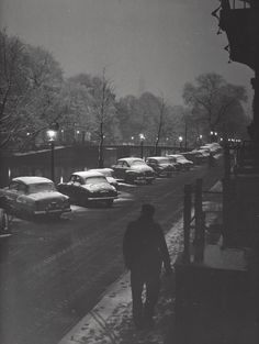 1954-1958. Snow covered cars parked on a canal in Amsterdam. Photo Kees Scherer. #amsterdam #1954 #Canals