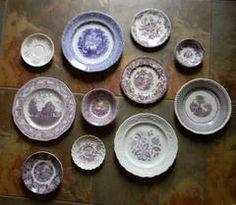 Asymmetrical Wall Arrangement Antique English China Purple Transferware Plates Shabby Chic Style 11 pc Set Mix n Match - Nancy's Daily Dish