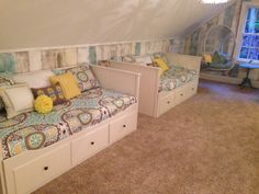 Pier 1 swingasan in a teen girls lounge space with IKEA Hemnes Daybeds Annie Sloan Chalk paint on barn wood for reclaimed look. Aqua gray and yellow room