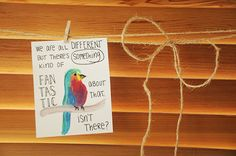 Tiny Multicolor Bird Watercolor Quote Painting  by TresBonn