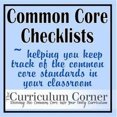 Common core checklists for grade K-6. WOW!
