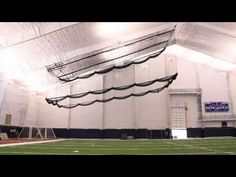 Grand Slam Indoor Retractable Batting Cage By Aalco Athletics   YouTube