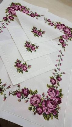 Aml Mustafa's media content and analytics Ribbon Embroidery, Cross Stitch Embroidery, Embroidery Patterns, Cross Stitch Designs, Cross Stitch Patterns, Monogram Cross Stitch, Hand Work Design, Floral Tablecloth, Card Box Wedding