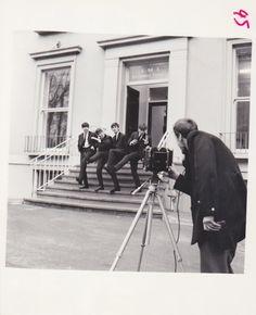 The Beatles outside EMI Recording Studios , by photographer Dezo Hoffman, 1963