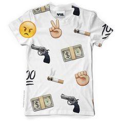 Killa Emoji T-Shirt - Unisex - Dye Sublimation - Money - Gun ($52) ❤ liked on Polyvore featuring tops, t-shirts, shirts, tees, short sleeve shirts, white boyfriend shirt, short sleeve t shirts, white shirt and boyfriend shirt