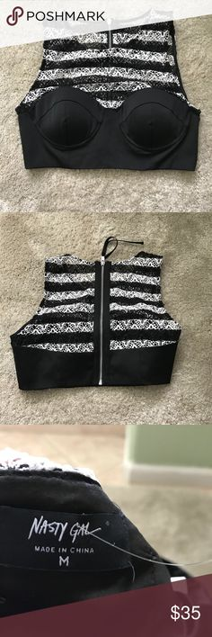 Nasty Gal Knitted Crop Top NWOT Brand new never worn. I cut the tags before i tried it on and it did not fit. This top would look great with  black pants or jeans and boots. Nasty Gal Tops Crop Tops