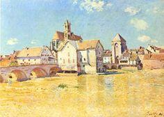 Bridge of Moret in morning sun by Sisley