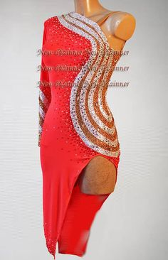 Women Ballroom Salsa Rumba Latin Rhythm Cha Dance Dress US 6 UK 8 Red Sliver #Seavex #LatinSalsa