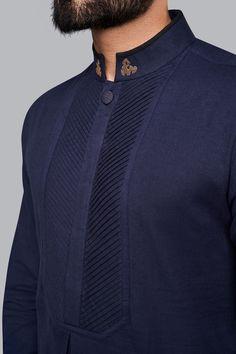 Kurtas & Shirts - Buy Chinar Kurta for men Online - - Anita Dongre African Wear Styles For Men, African Shirts For Men, African Dresses Men, African Attire For Men, African Clothing For Men, Nigerian Men Fashion, Indian Men Fashion, Mens Fashion Wear, Gents Kurta Design